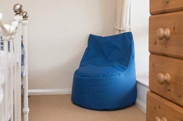 Children will love the bean bag chair!