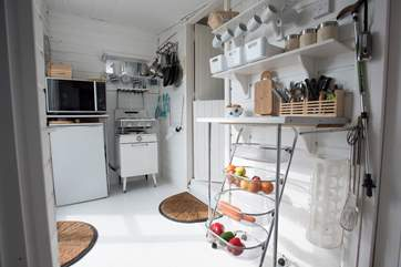The galley kitchen is small but perfectly formed.