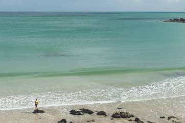 The clear waters at Coverack bay, the shallow waters at low tide make it safe for swimming or just a paddle.