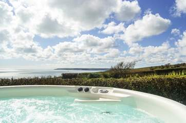 What a view... possibly the best hot tub view in Cornwall!