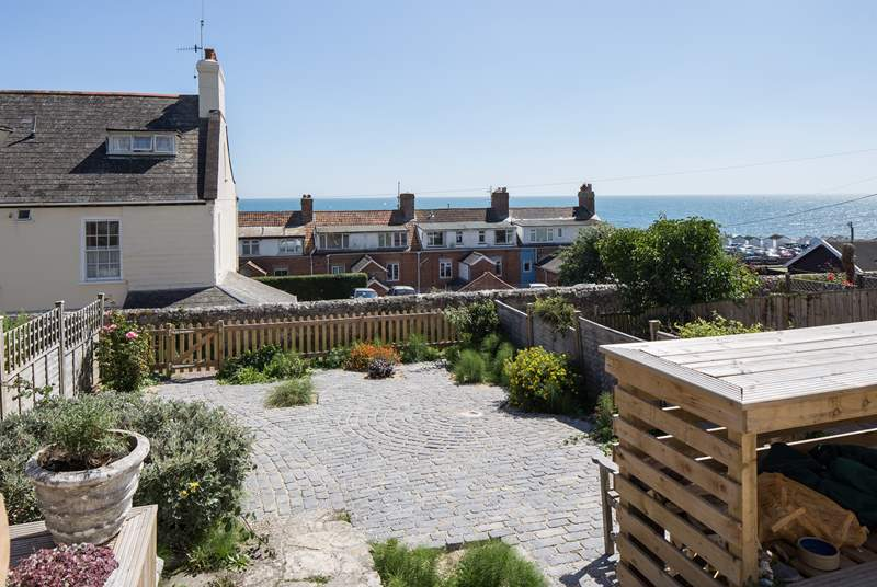 From the terrace you can look across Lyme Bay with fabulous views of The Jurassic coastline.