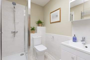 The shower-room is a really generous size, a contemporary style and so very bright and sparkling.