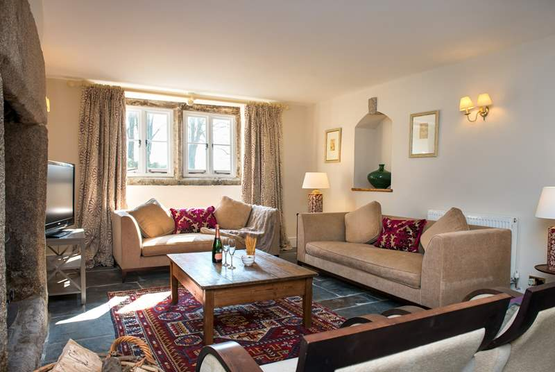 The main sitting-room is incredibly spacious and stylishly furnished.