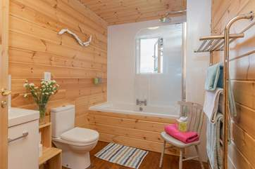 This is the ground floor family bathroom, with a bath as well as the fitted shower.