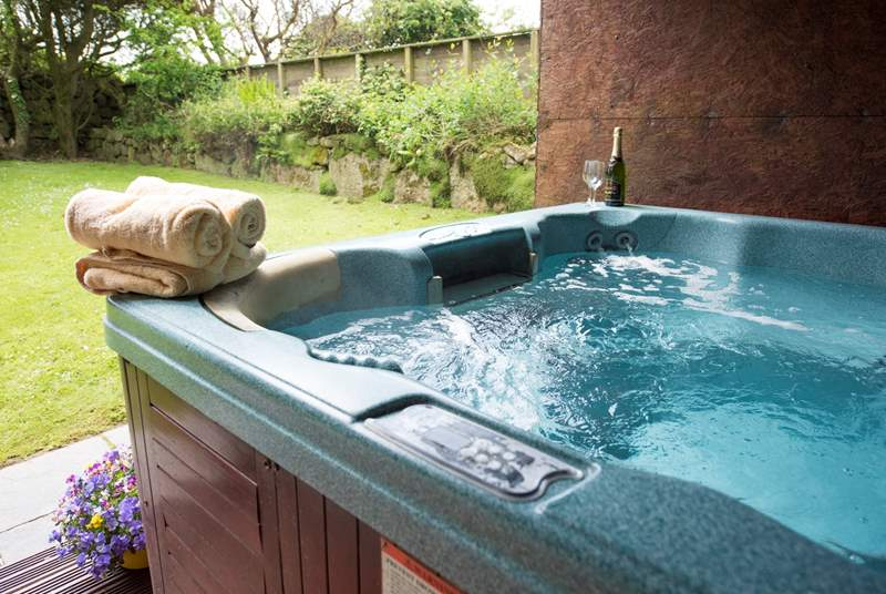 Enjoy the hot tub at Tremornah in your private enclosed garden.