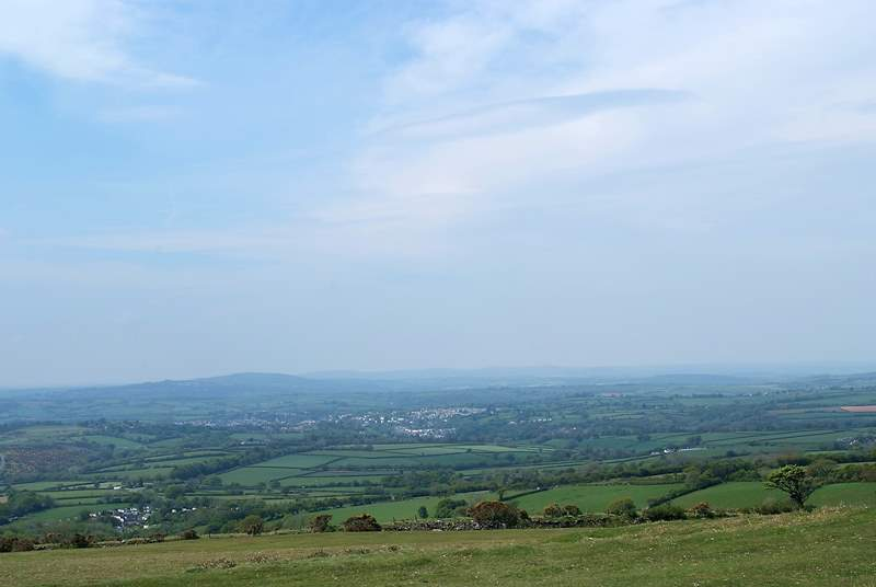 The view of Tavistock from atop a hill on the moor.
