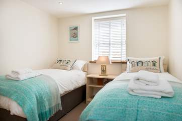 The beautiful twin bedded room.