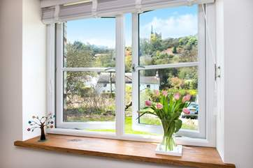 The double bedroom enjoys the views across to the engine house 'Wheal Friendly'.