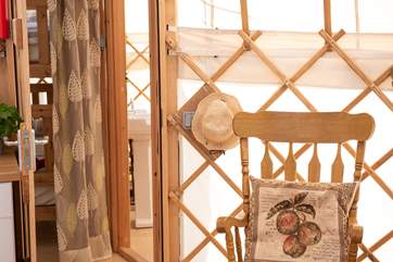 Looking through to the 'baby yurt' bunk bedroom and bathroom from the main yurt.