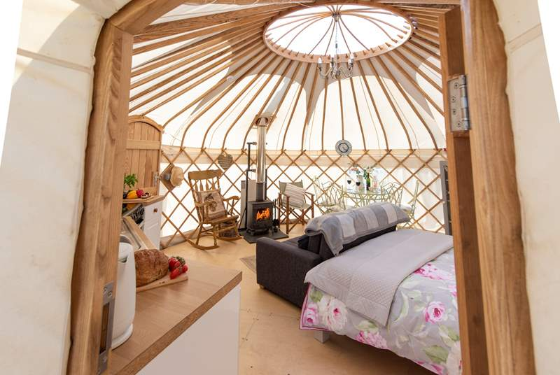 Looking into the beautiful main yurt.