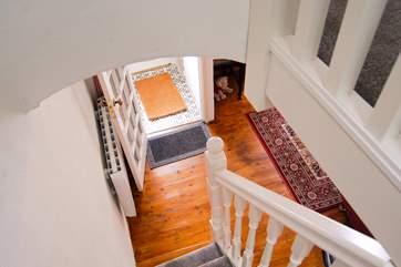 Looking down from the top of the steep cottage staircase.