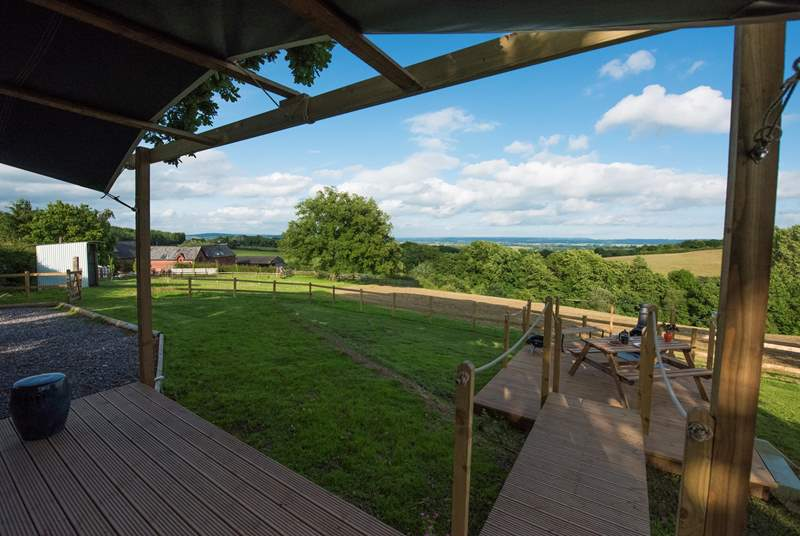 The hot tub has now been added but this photo shows you the decking area at the front of the shepherd's hut at this wonderful organic farm.
