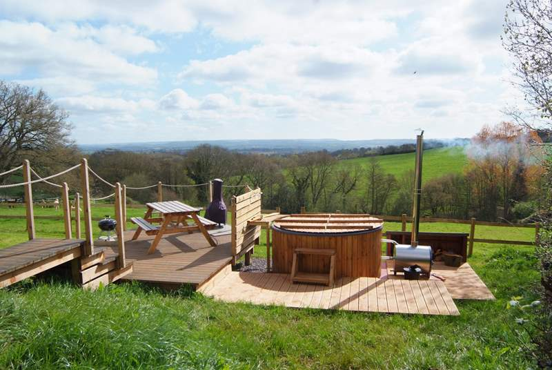 The hot tub could not be in a more stunning position - valley views as far as you can see, with a lovely decked area for al fresco dining.