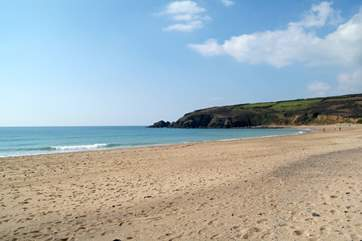 The long sandy beach at Praa Sands.