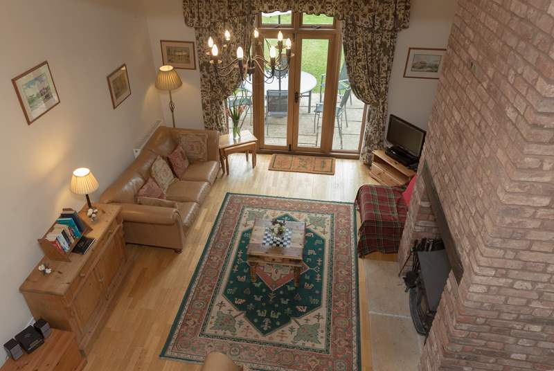 There is a really large living room - this is the view looking down from the mezzanine level where the master bedroom is situated.