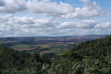 This view is across the Vale of Taunton towards Exmoor, from the top of the Quantock Hills.