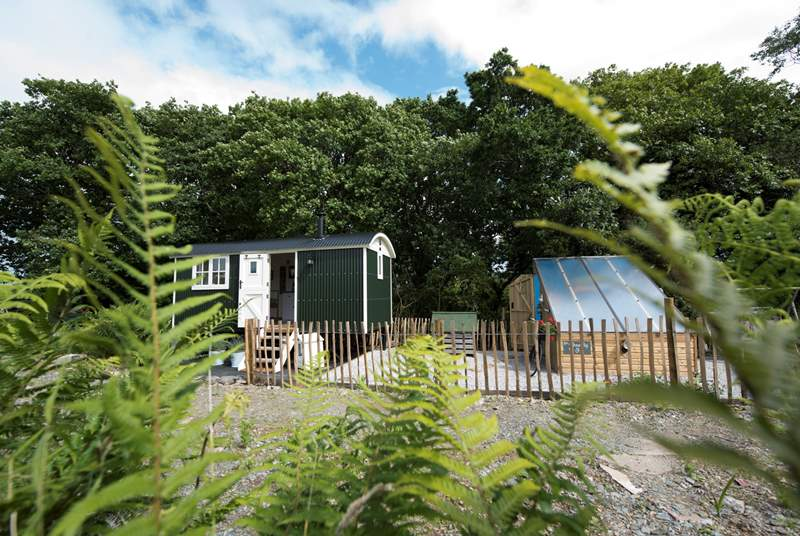 We Two Shepherd's Hut with its very own summerhouse and firepit area.