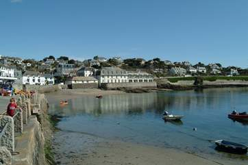 St Mawes, looking from the little pier across to the Idle Rocks Hotel.