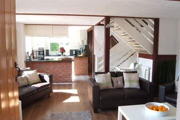 The open plan living space is lovely and light.