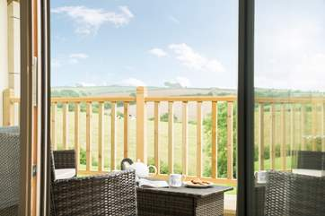 The large balcony has wonderful countryside views.