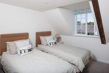 On the second floor bedroom 2 has 3ft twin beds and views out over the village.