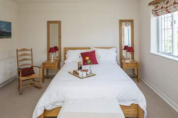 The spacious master bedroom room has a super comfy 5ft bed.