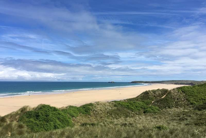 One of the long stretches of sandy beach at Gwithian, a short drive away.