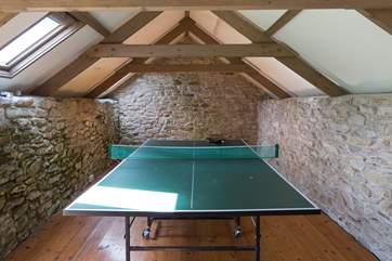 The games-room in an outside barn - approached by unrailed stone steps.