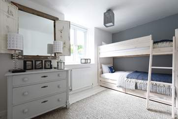 The bespoke captain's bunk-beds in the second bedroom.
