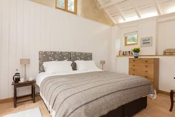 Bedroom 2 is up three steps and has a super-king size 6ft bed, which can be made up as two single beds.