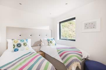This bedroom can be made up as a king-size double bed or as twins (2ft 6'') which are more suitable for children.
