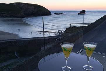 Drinks on the balcony at sunset.