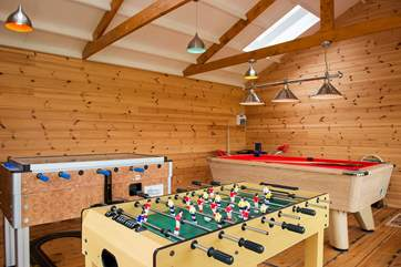 The communal games room has table football, Pool and a whole hosts of other games and toys to delight