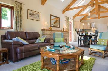 The open plan living area has plenty of room for all.