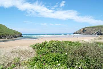 The stunning beach at Mawgan Porth is only a short drive