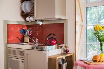 The elfin kitchen has two electric rings, a combination microwave oven and a fridge with an ice compartment.