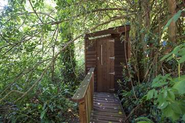 The oudoor shower-room...perfect for sluicing off sand after a day at the beach.