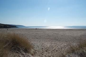Par Sands is only seven miles away, perfect for dog walking and paddling (and with parking right by the beach).