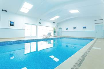 The indoor swimming pool is open for use all day every day.