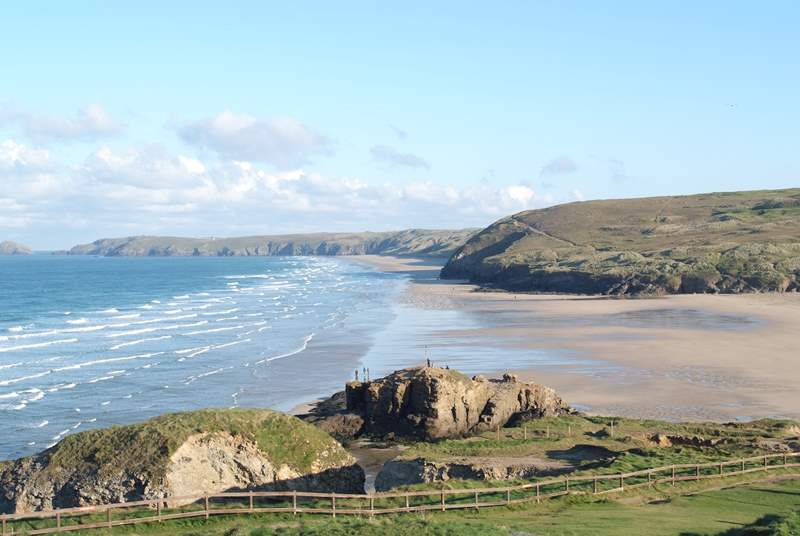 Perranporth has miles of fabulous sandybeach and renowned surfing waves.