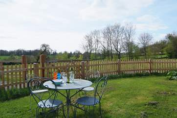 There is a fully enclosed garden, so very safe for children and four-legged friends.  Next to the garden is a lovely open paddock with fields beyond.