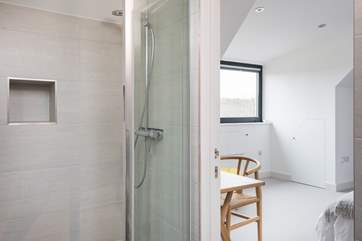 The walk-in shower in the wet-room.