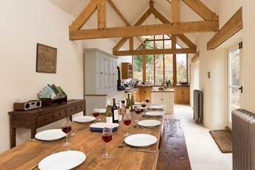 There is a huge farmhouse kitchen table that will seat 10 very comfortably for the most memorable of feasts. Please note there are 3 steps from the entrance hall down into the kitchen