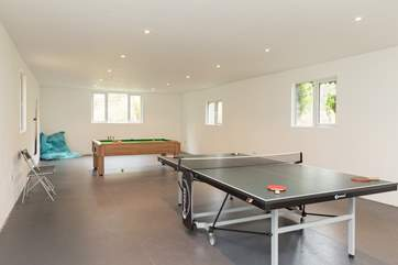 In a separate purpose building at the back of the farmhouse is this great games-room.