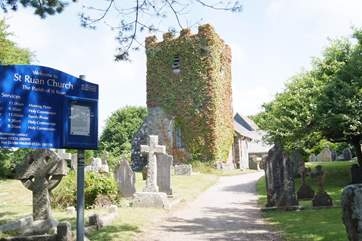 The pretty church of St Ruan in the heart of the village is a short walk from the cottage.