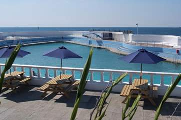 The thoroughly enjoyable open-air Jubilee Pool on Penzance promenade, just 3 miles away.