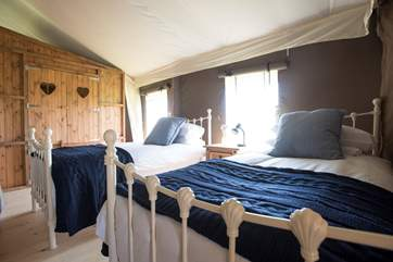 The twin beds looking towards the double cabin bed.