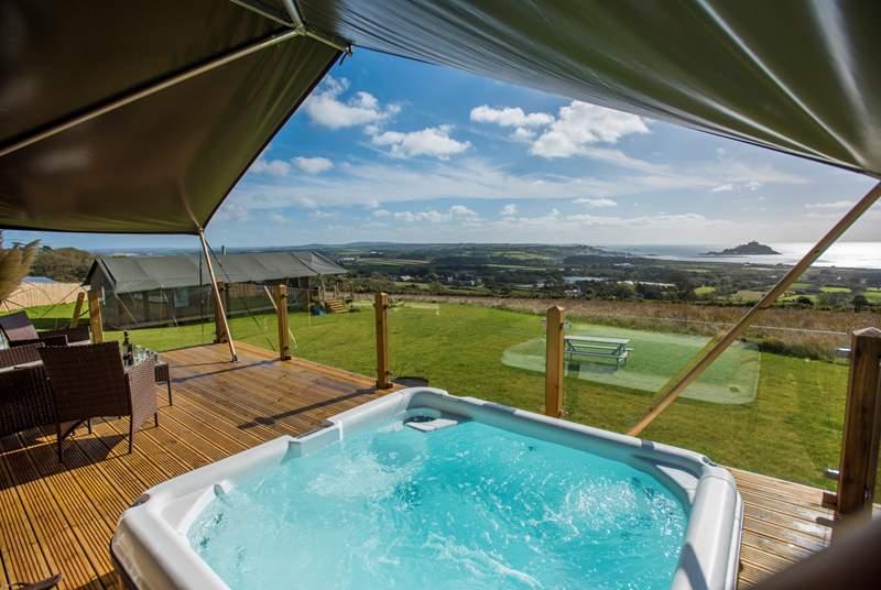 The fabulous Mount View Horizon Safari Tent enjoying spectacular views of countryside and sea.