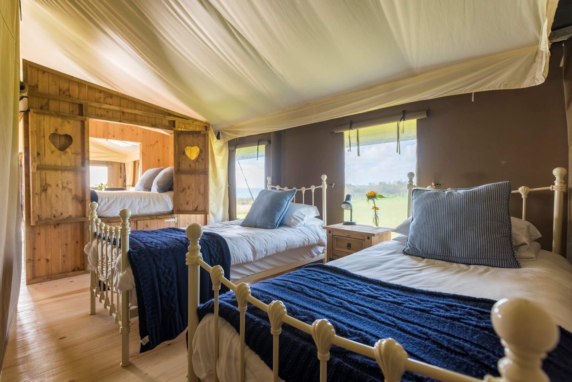 the twin beds looking towards the double cabin bed