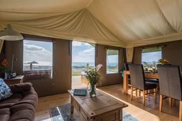 From inside and outside of this spacious safari tent, the views are simply stunning.